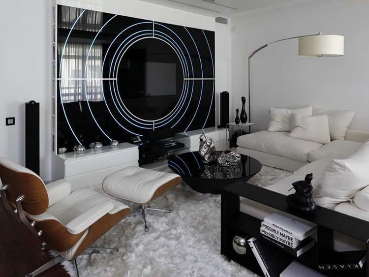 Оригинальное декорирование гостиной в стиле хай-тек