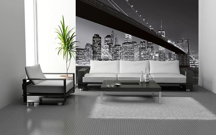 Чёрно-белые фотообои с городским пейзажем