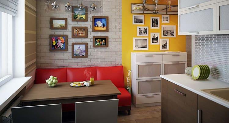Яркий прямой диван станет ярким акцентом в интерьере любой кухни