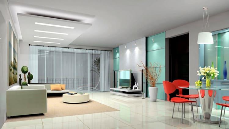 Прямые линии, минимум декора, большие окна – характерные черты стиля
