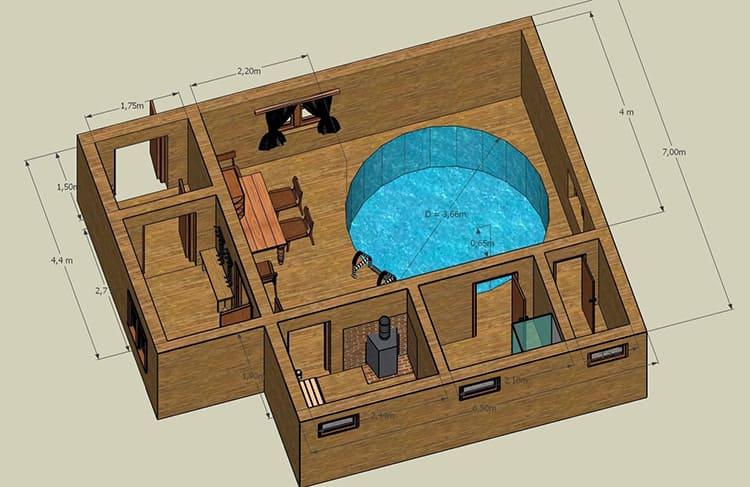 Вариант простого проекта банного сруба с мини-бассейном обладает габаритами 8,3 м × 7 м и может прекрасно разместиться на небольшом дачном участке