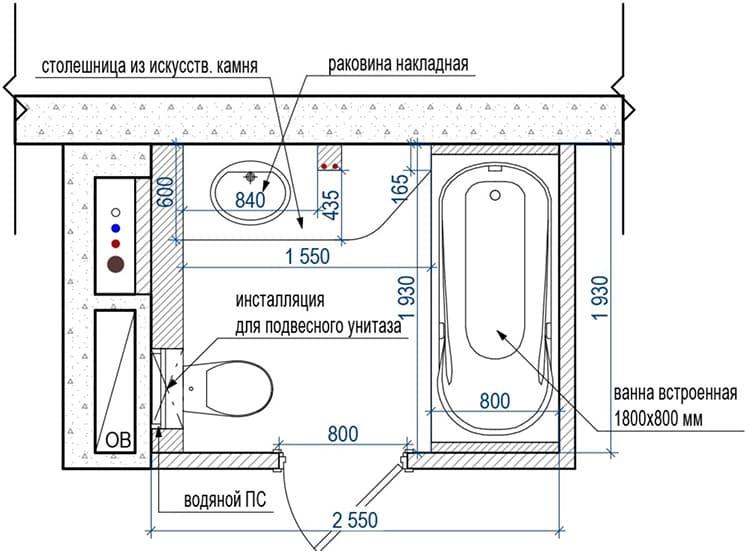 Подробный план поможет рассчитать необходимое количество материалов и сантехники