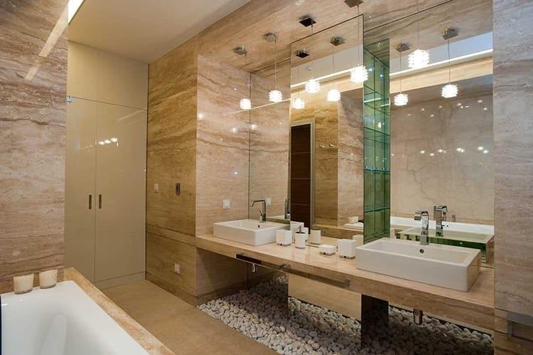 В больших ванных комнатах можно реализовать практически любые идеи