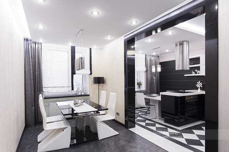 Чёрно-белая кухня-гостиная – всё по хай-тек