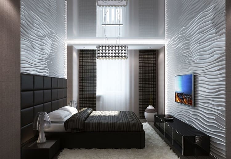 Фото интерьера спальни в стиле хай-тек
