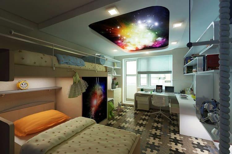 Детская со звёздным небом на потолке