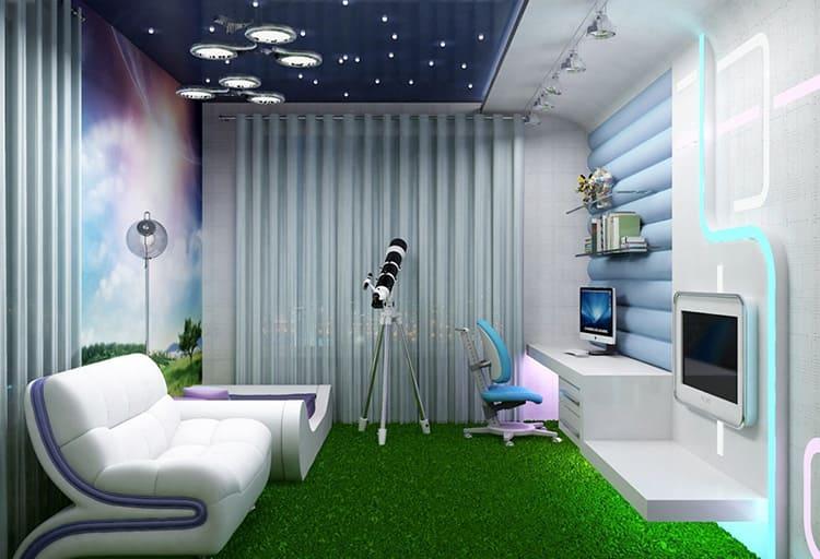 Такая детская комната актуальна как для дошкольника, так и для ребёнка младшего школьного возраста