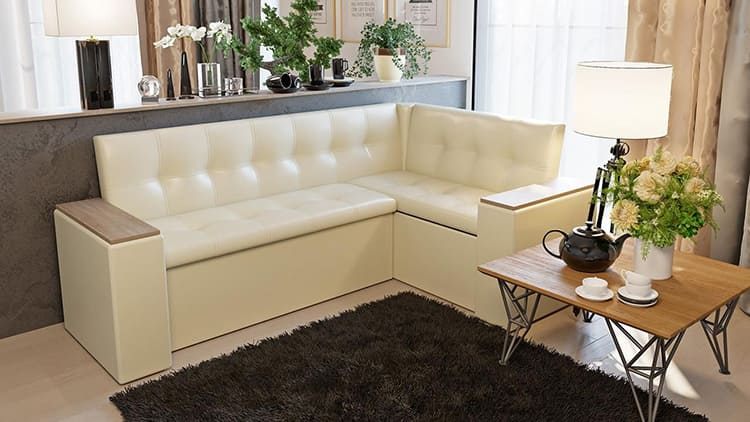 Фото углового дивана со спальным местом на кухне-гостиной