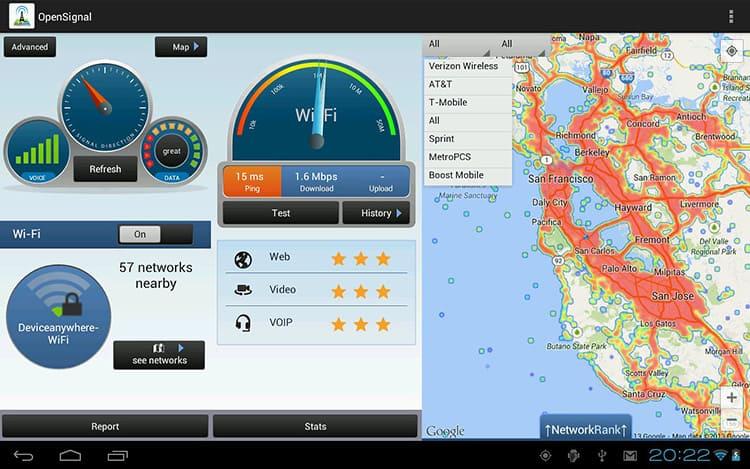 Есть возможность определить удалённость и с помощью некоторых мобильных приложений, например ОpenSignal
