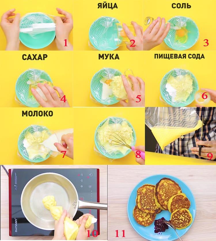 Как приготовить оладьи, не испачкав посуды