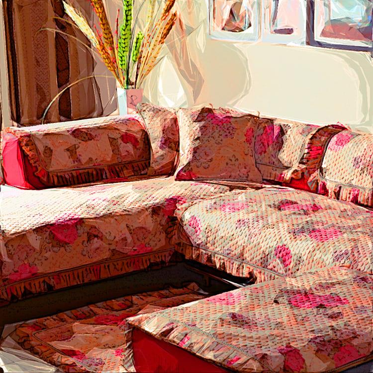 Преобразить диван можно с помощью покрывала