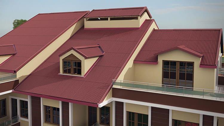 Ондулин используют для возведения хозяйственных построек, включая гаражи и бани, а также для жилых зданий со сложной кровлей