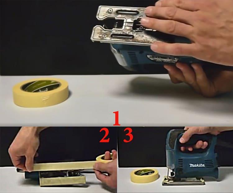 Скотч на подошве лобзика будет оберегать распиливаемую поверхность от царапин