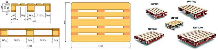 Размеры деревянных транспортных поддонов