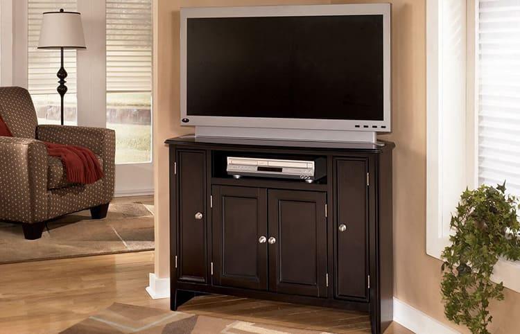 Фото стандартной угловой тумбочки под телевизор