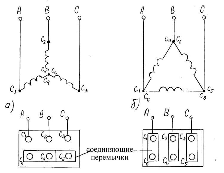 Вот так могут подключаться электродвигатели к трёхфазной сети
