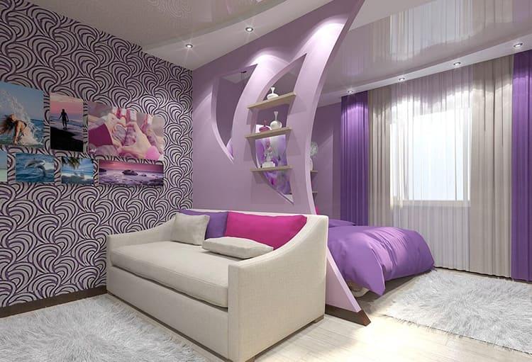 Спальное место отделено от гостиной гипсокартонной перегородкой