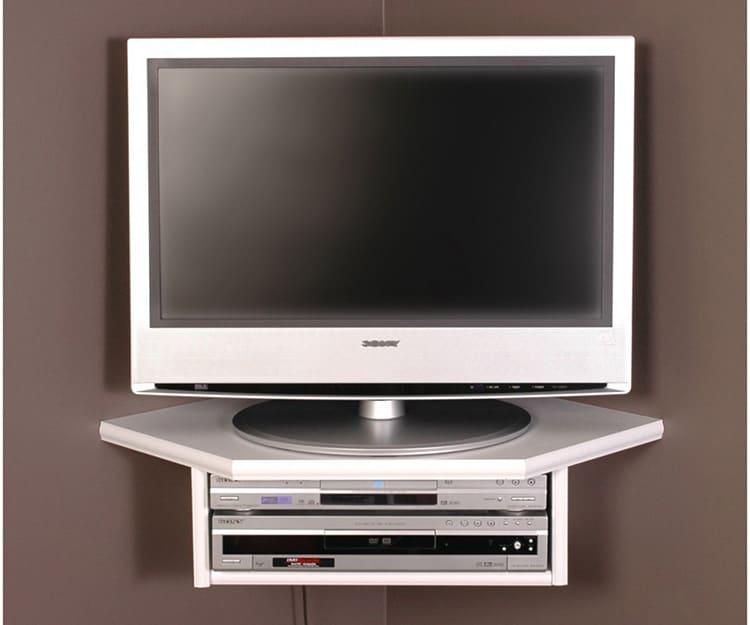 Угловая полка под телевизор на стену