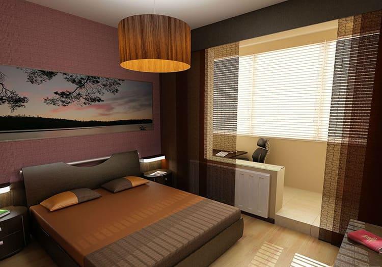 Совмещение спальни с лоджией значительно увеличивает свободное пространство