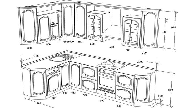 Размеры стандартной угловой кухни
