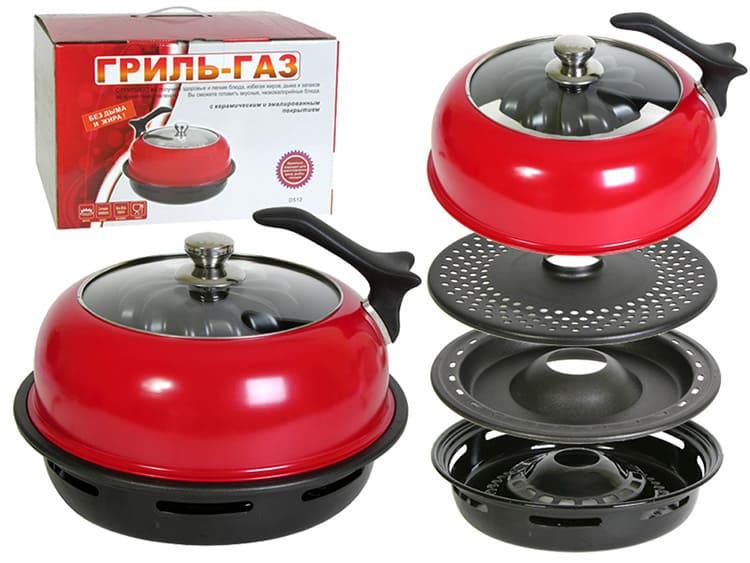 D-512 – удобная сковорода с двумя видами решётки и керамическим напылением