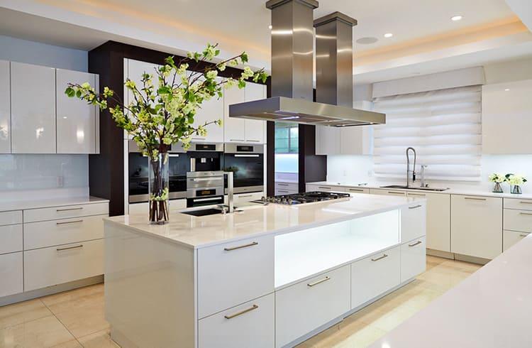 Весьма привлекательны hi-tech кухни в монохромном исполнении