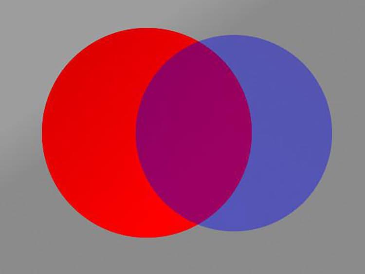 Способ наложения цветов является отличным вариантом для смешивания
