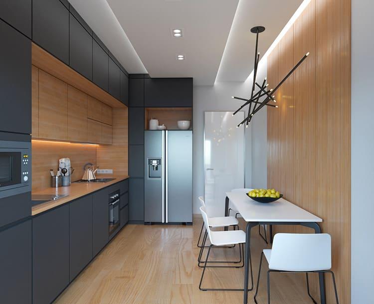 Самым популярным методом является однорядная линейная планировка, особенно для вытянутых кухонь