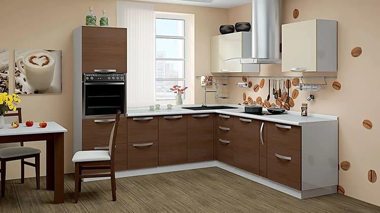 Корпуса кухни могут быть изготовлены из одного материала, а фасады из другого