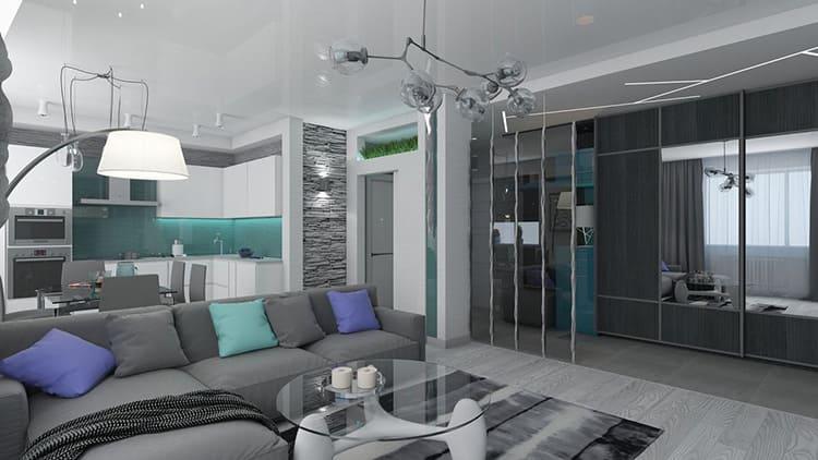 Самое простое решение – разделение пространства угловым диваном