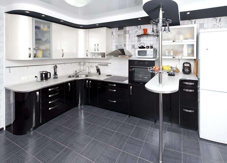 Угловой гарнитур должен гармонично вписываться в интерьер кухни по стилю