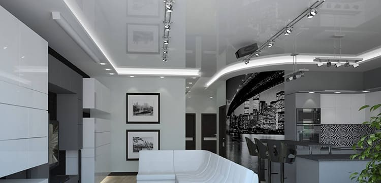 Кроме того, на таком потолке органично смотрится точечная подсветка