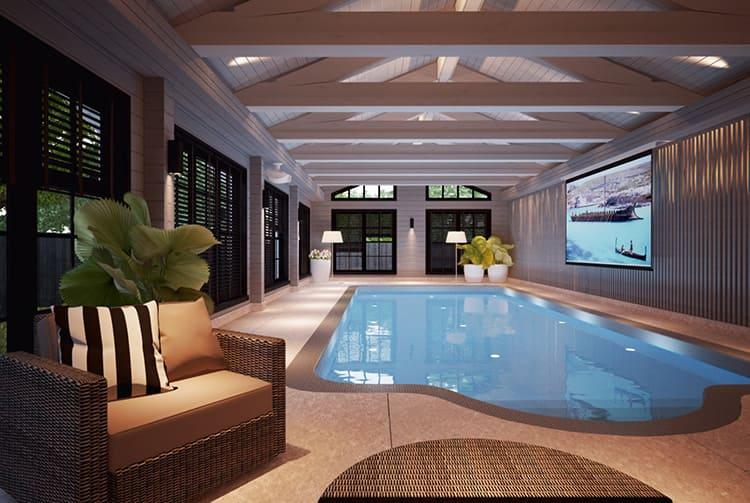 При наличии свободной площади можно не скромничать и позволить себе даже бассейн внутри дома