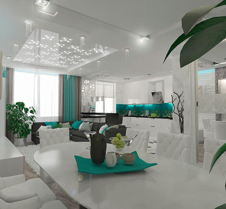 Гипсокартонные конструкции в сочетании с натяжными потолками