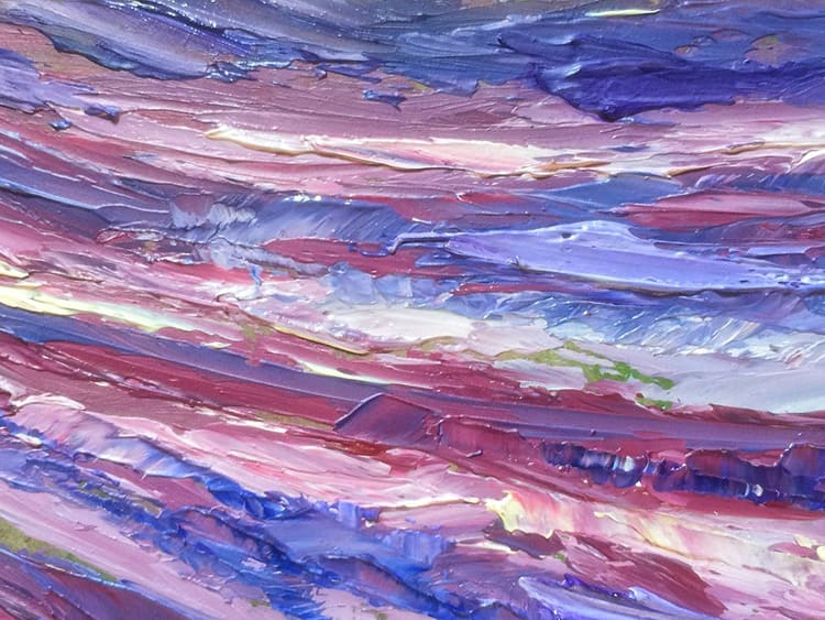 Разнотонный фиолетовый оттенок можно сделать масляной краской из основного тона и дополнительных цветов