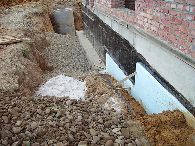 Расстояние между дренажным каналом и фундаментом заполняют глиной, которая не пропустит воду к основанию дома
