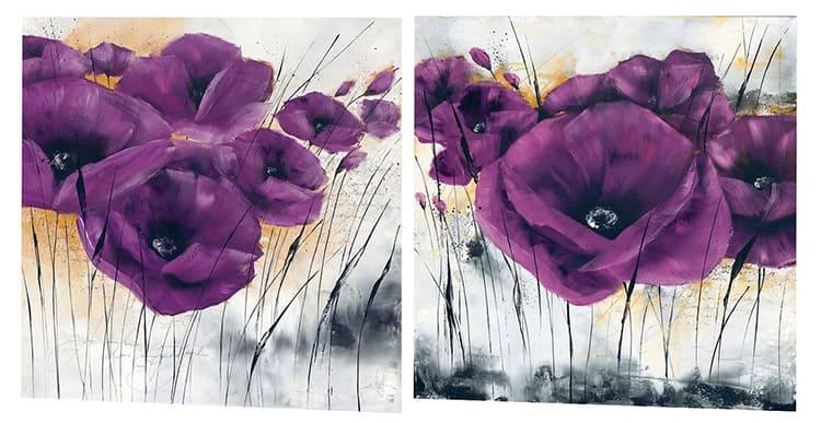 При рисовании фиолетовым цветом акриловыми красками на изображении можно увидеть чёткие грани