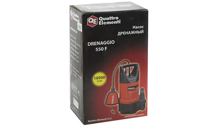Quattro Elementi Drenaggio 550 F – дренажный насос, разработанный в Италии