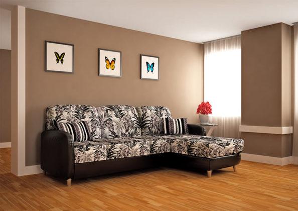 ФОТО: dizainvfoto.ru Цветочный узор с ненавязчивым рисунком украсит гостиную.
