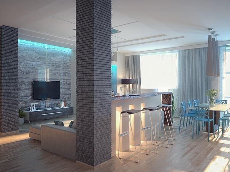 Колонны – неожиданное решение, но как предмет декора они тоже работают на визуальное увеличение высоты пространства, как и узкие вертикальные ниши, оформленные контрастными оттенками ФОТО: i.pinimg.com