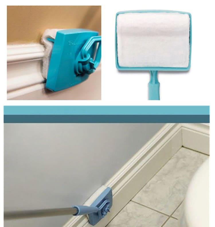 Инструмент для уборки позволит легко добраться до сложных участков и удалить засохший клей или краску