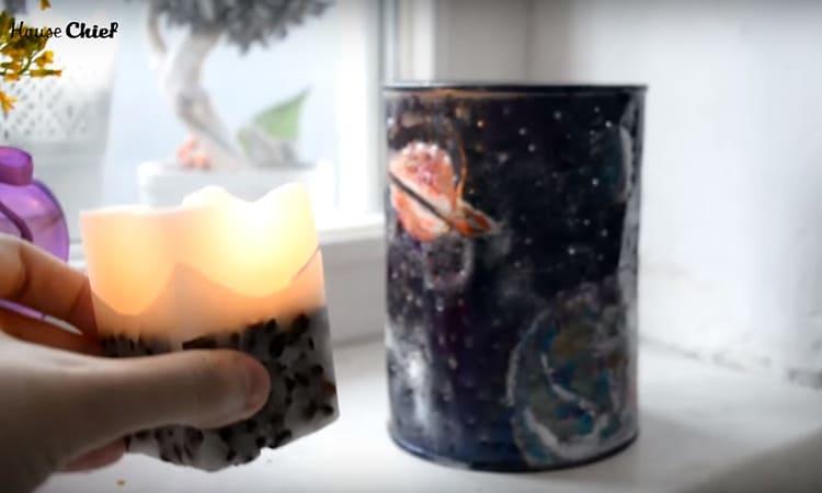 Заставить светильник работать можно с помощью лампы, но я решила использовать ароматическую свечу