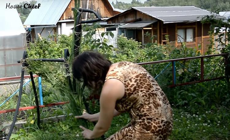 Травы у меня было в достатке, так что весь каркас я обмотала выполотой зеленью и закрепила всё теми же капроновыми нитками