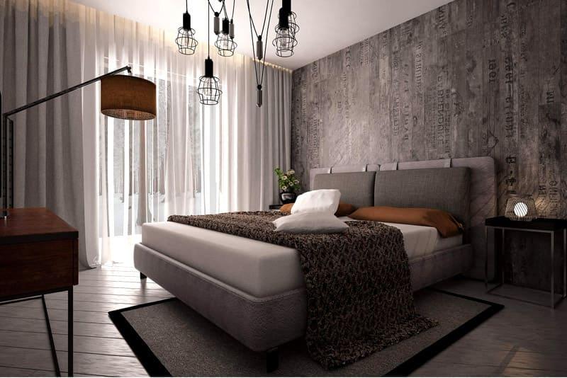 Бетонные стены в лофтовой спальне