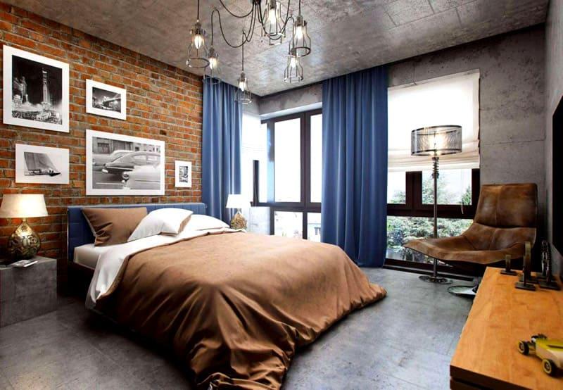 Необработанная кирпичная стена и бетонные поверхности делают лофт легко узнаваемым