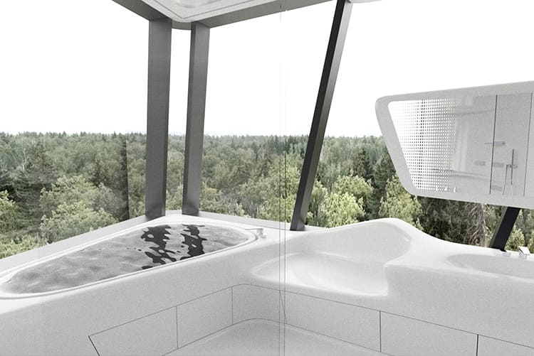Ванная аскетична, панорамные стены позволяют максимально насладиться прекрасным видомФОТО: skuky.net
