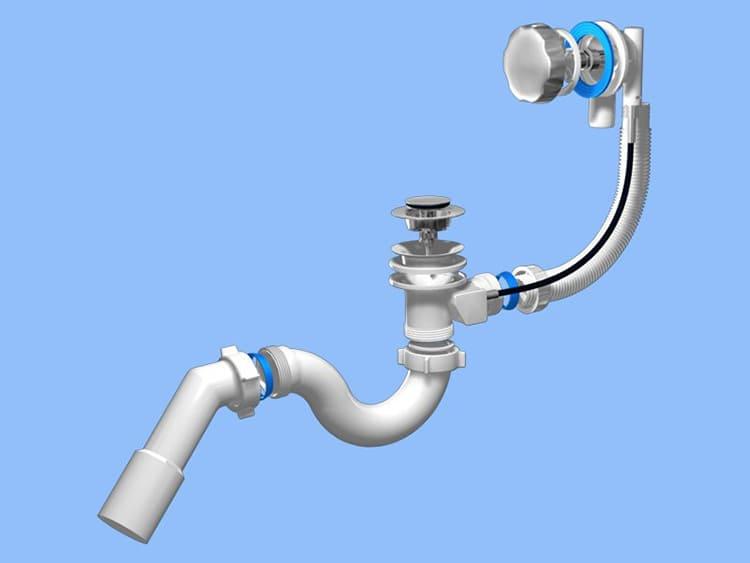 Приспособление для слива стоков в канализацию состоит из клапана слива и перелива, труб, соединяющих их между собой и с канализациейФОТО: obustroeno.com