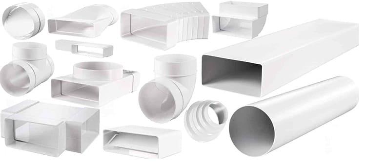 Для монтажа пластикового воздуховода требуется много различных переходников и отводовФОТО: trubanet.ru