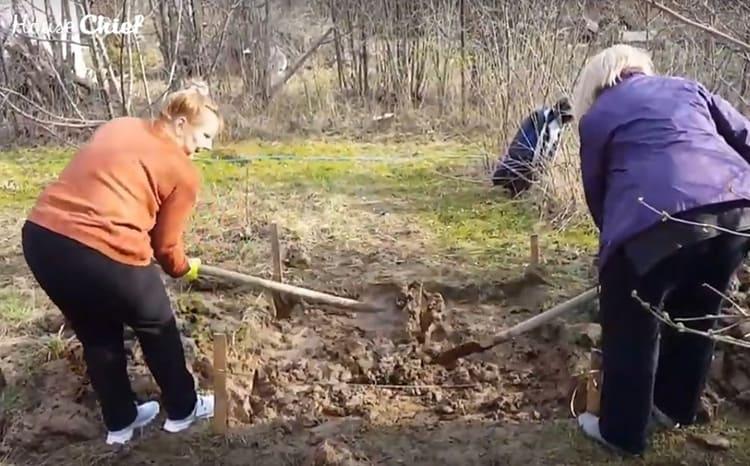 По разметке выкопали котлован примерно 30 см глубиной. На самом деле, котлован – это громко сказано. Сняли верхний слой грунта с травой – и все дела