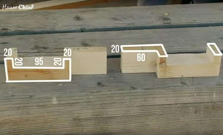 Потребуются ещё 2 таких детали – они будут зафиксированы на двух ножках в изголовье и послужат местом для хранения опорной доски, когда шезлонг будет полностью разложен